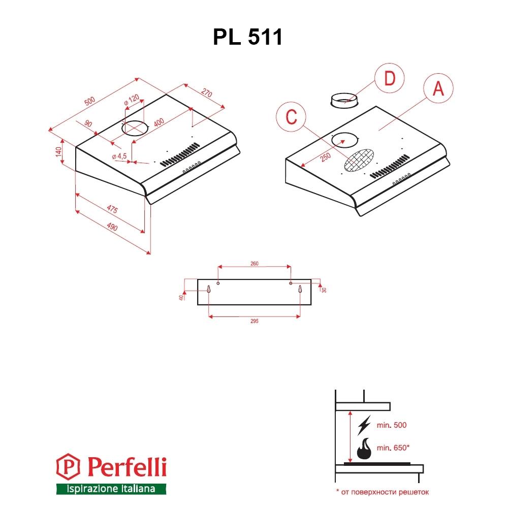 Flat Hood Perfelli PL 511 BL
