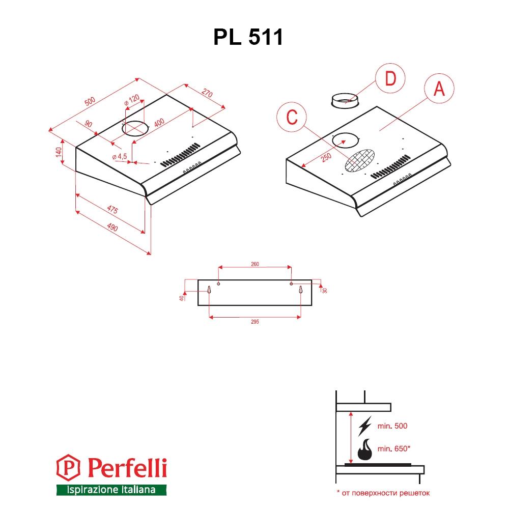 Flat Hood Perfelli PL 511 W