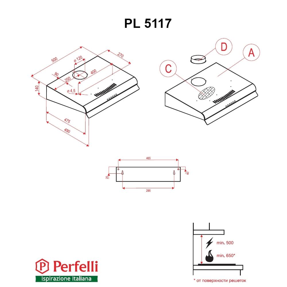Flat Hood Perfelli PL 5117 BL