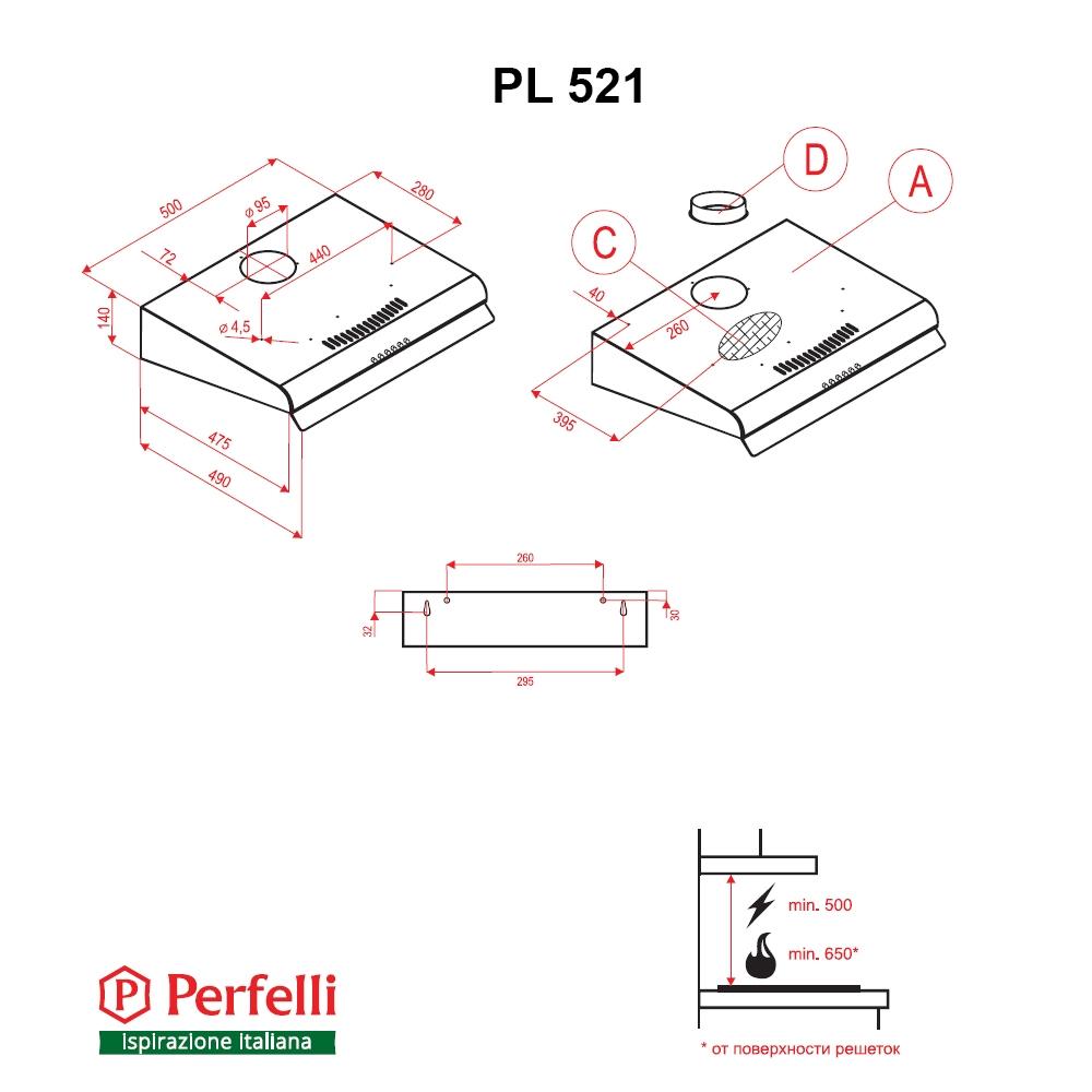 Flat Hood Perfelli PL 521 BL