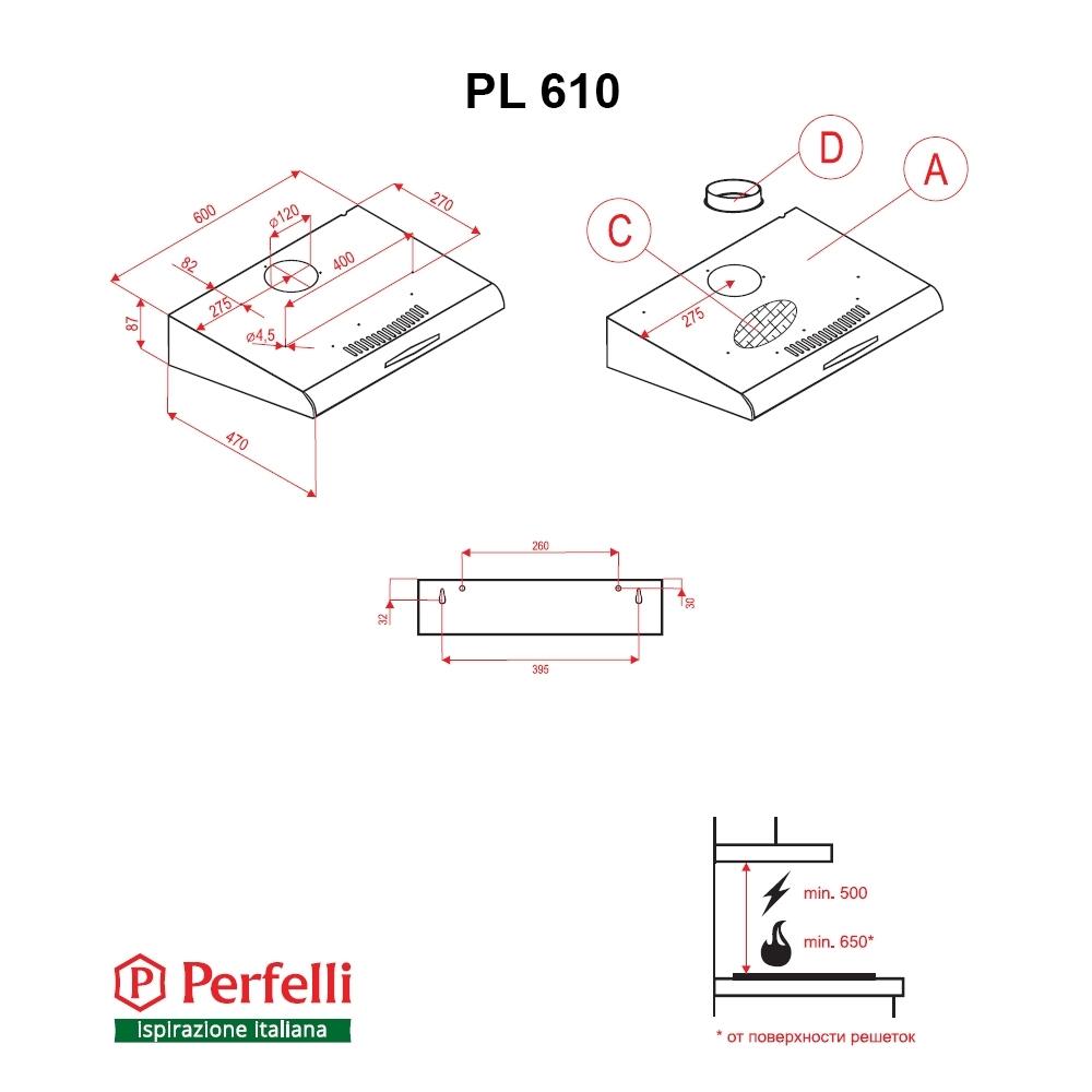 Flat Hood Perfelli PL 610 BL