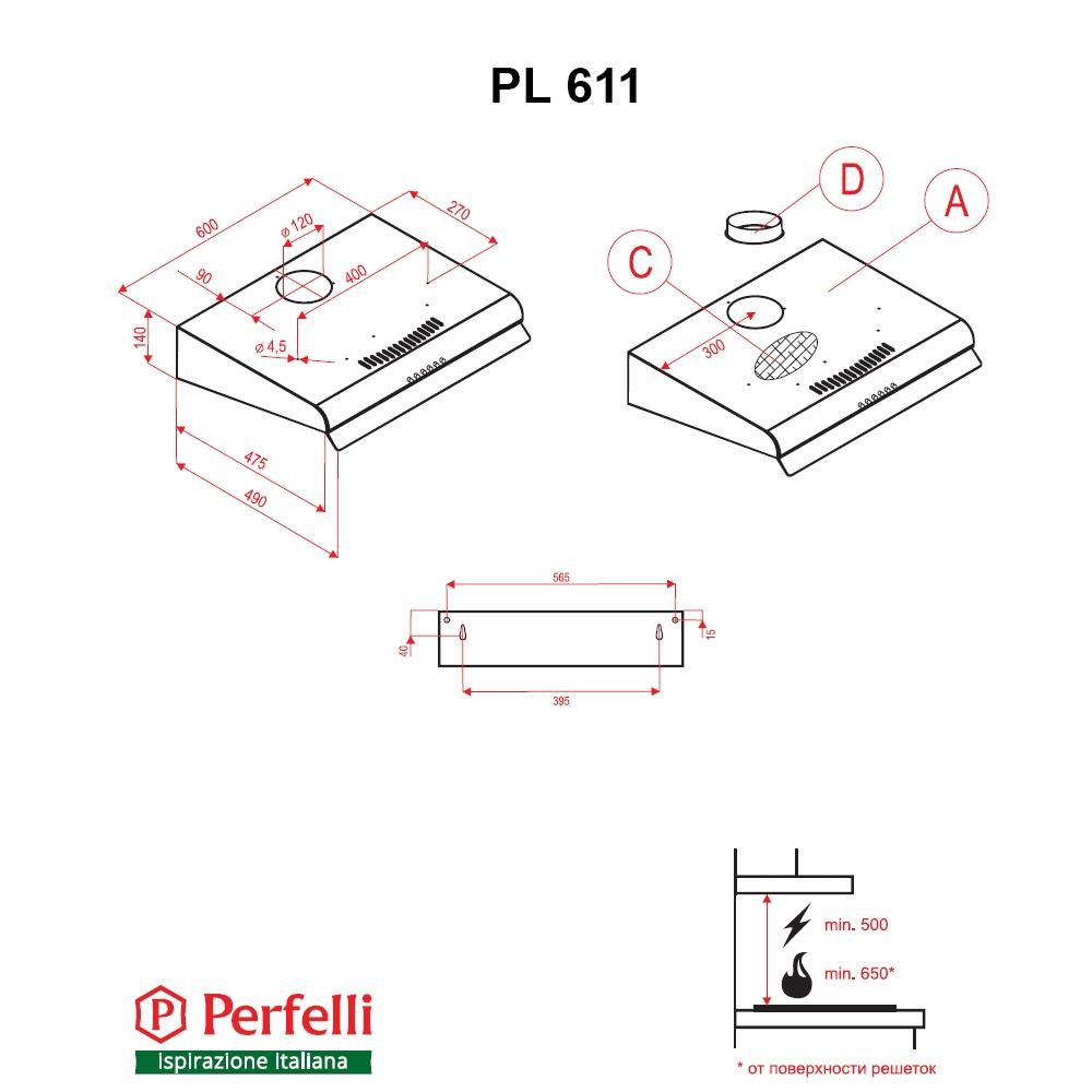 Flat Hood Perfelli PL 611 I