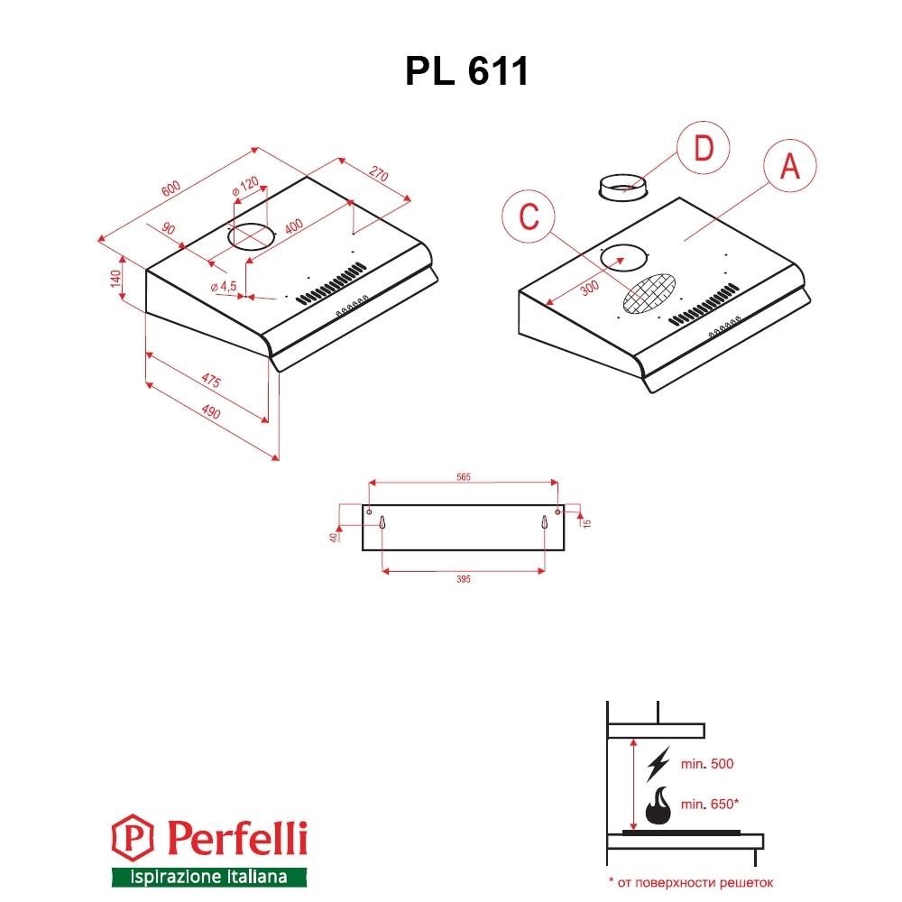 Вытяжка плоская Perfelli PL 611 W
