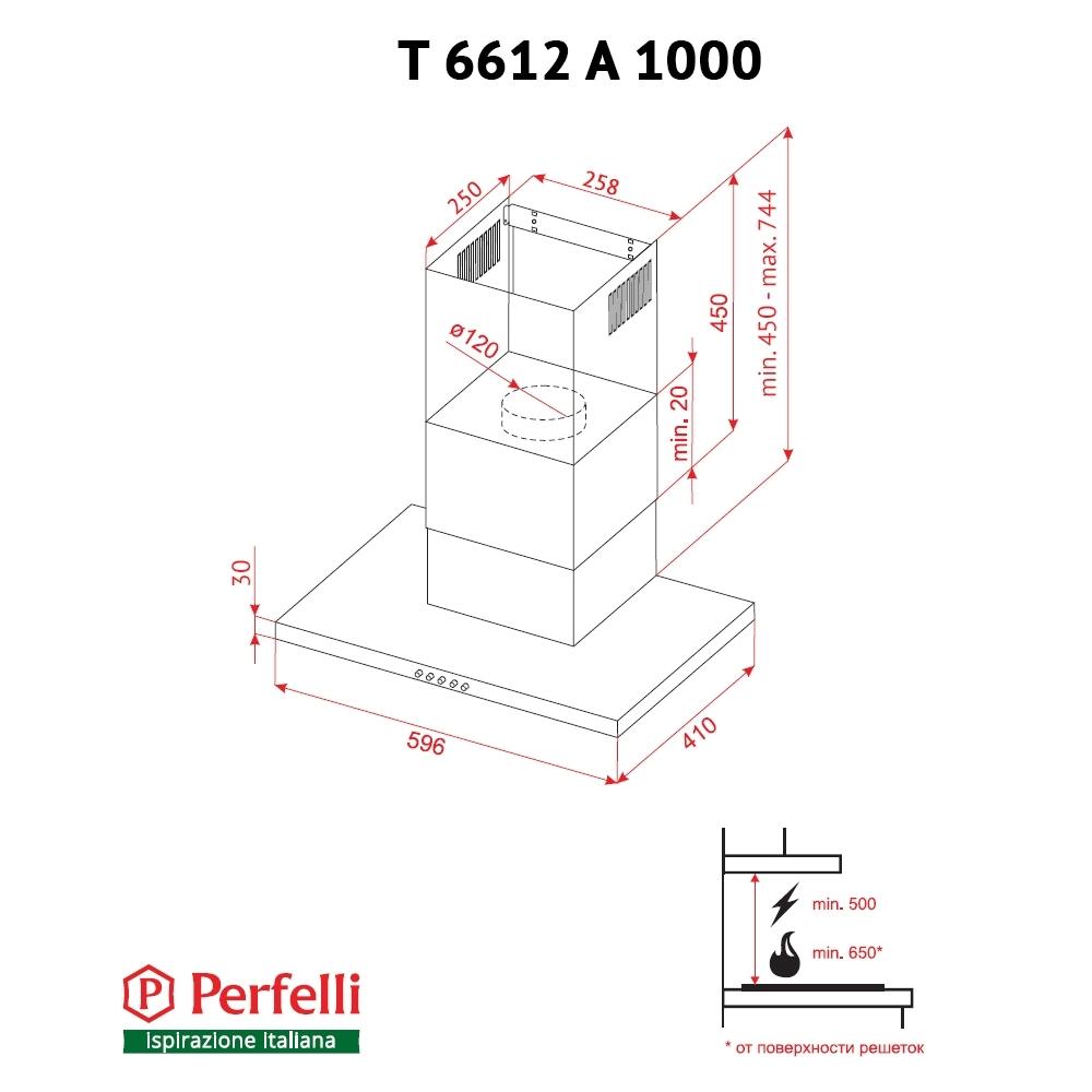 Вытяжка декоративная Т-образная Perfelli T 6612 A 1000 BL LED