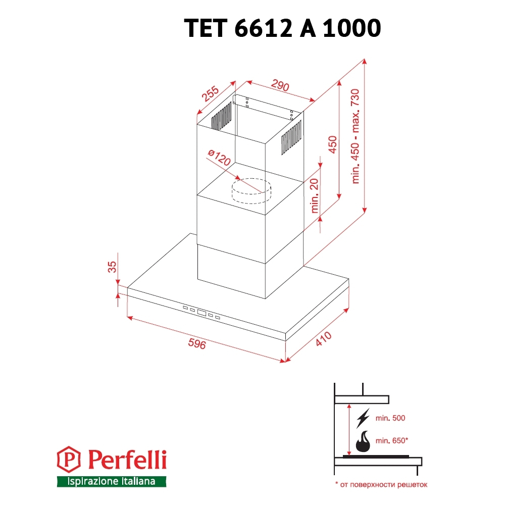 Hood decorative T-shaped Perfelli TET 6612 A 1000 W LED