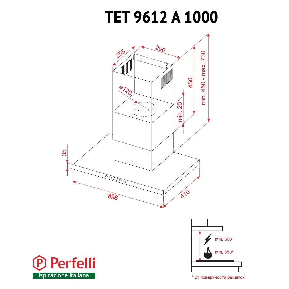 Hood decorative T-shaped Perfelli TET 9612 A 1000 W LED