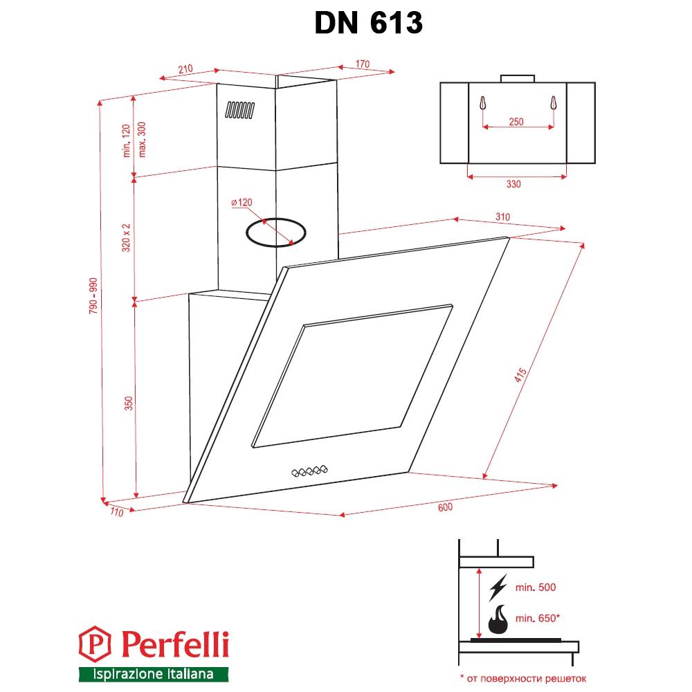 Decorative Incline Hood Perfelli DN 613 BL