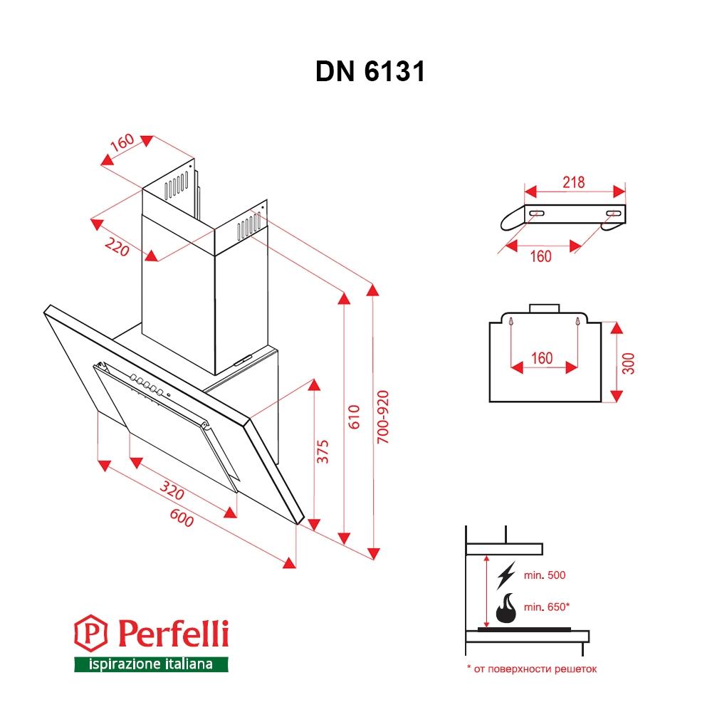 Decorative Incline Hood Perfelli DN 6131 BL