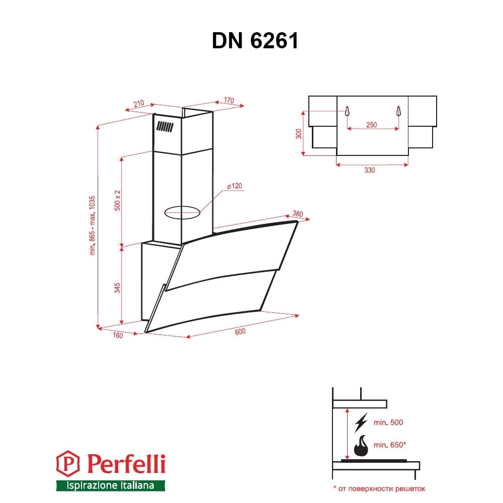 Вытяжка декоративная наклонная Perfelli DN 6261 BL