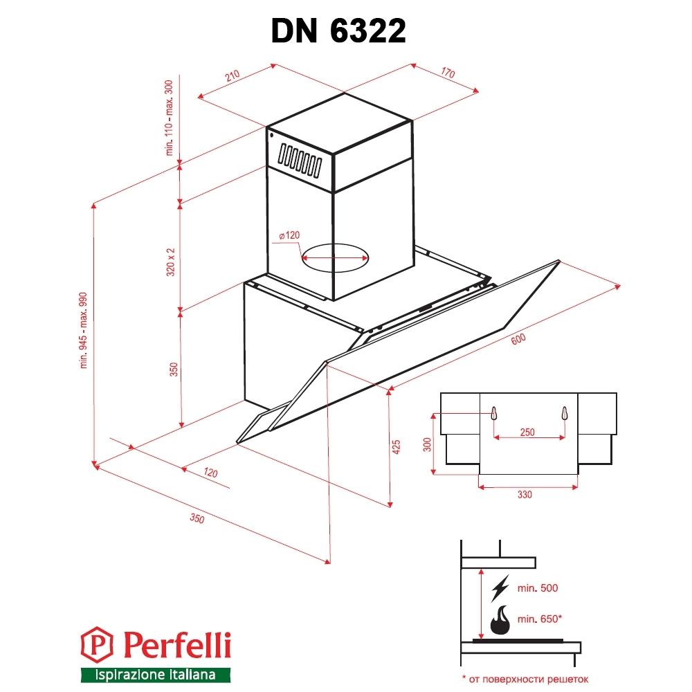 Decorative Incline Hood Perfelli DN 6322 BL LED