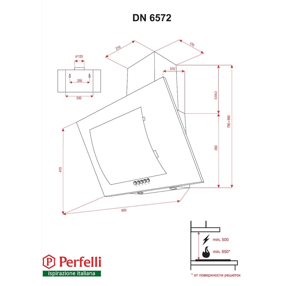 Cappa aspirante decorativa inclinato Perfelli DN 6572 BL LED