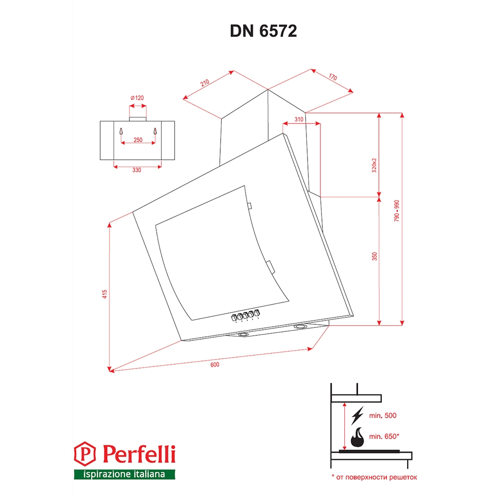 Decorative Incline Hood Perfelli DN 6572 BL LED
