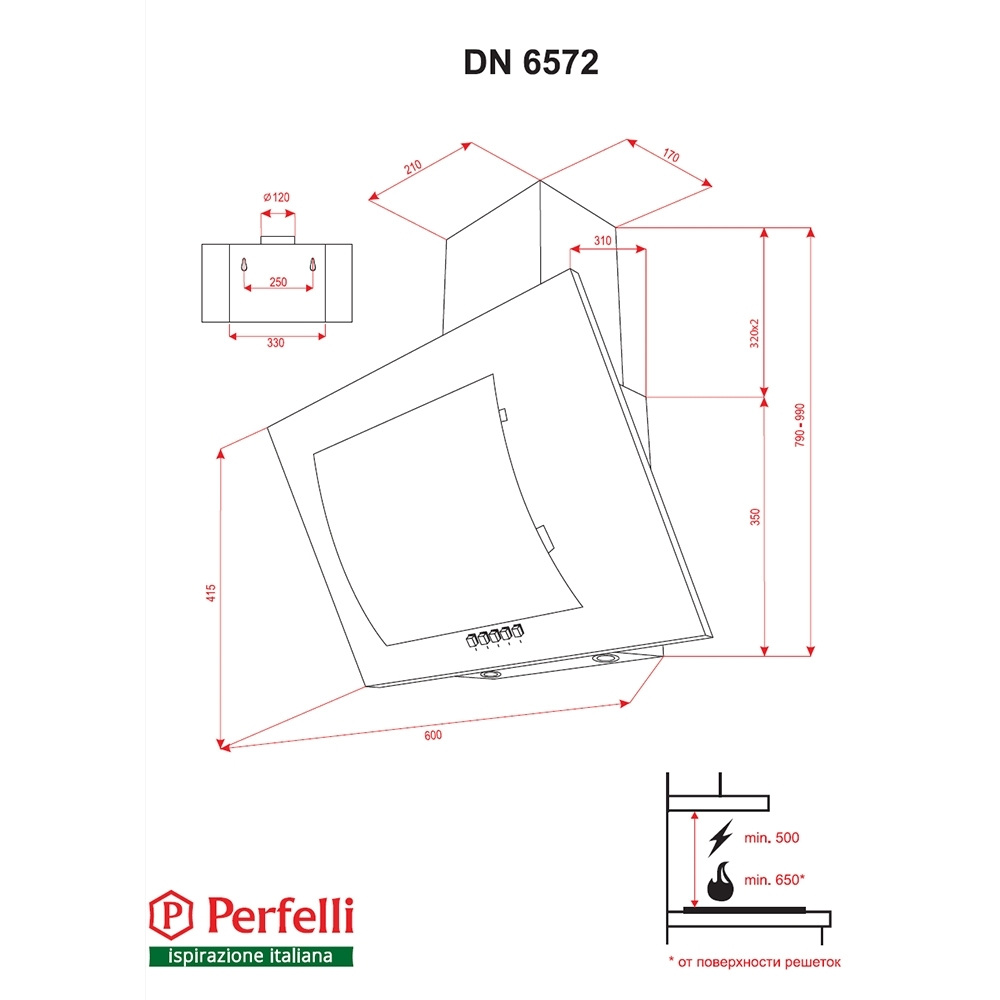 Decorative Incline Hood Perfelli DN 6572 W LED