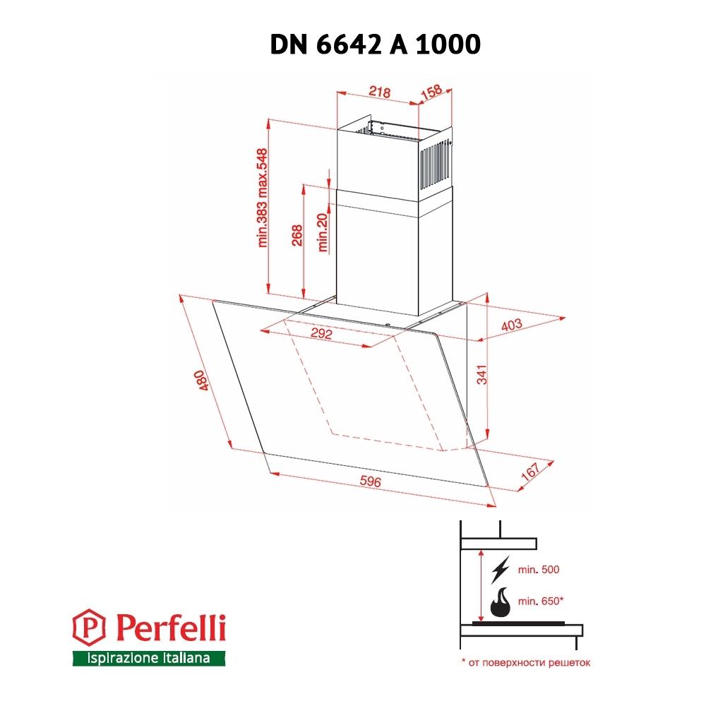 Вытяжка декоративная наклонная Perfelli DN 6642 A 1000 BL LED