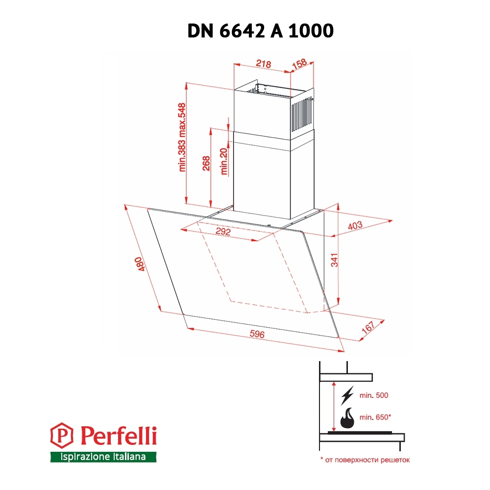 Вытяжка декоративная наклонная Perfelli DN 6642 A 1000 IV LED