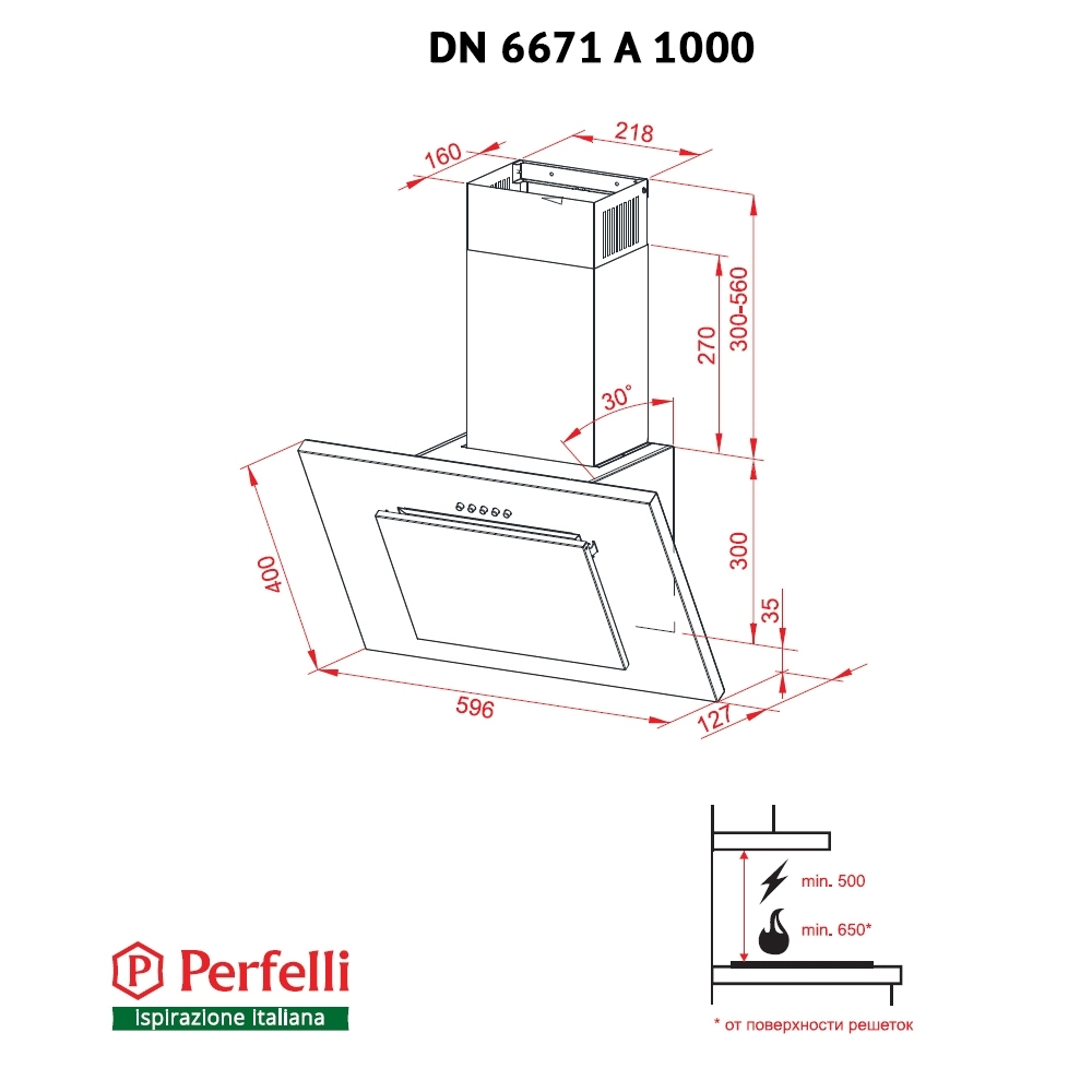 Decorative Incline Hood Perfelli DN 6671 A 1000 IV