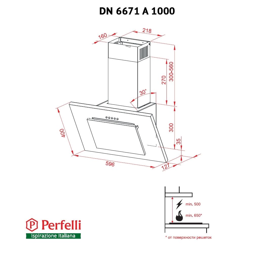 Вытяжка декоративная наклонная Perfelli DN 6671 A 1000 W