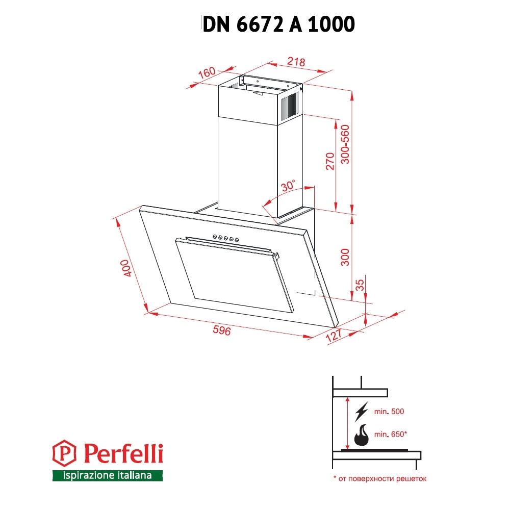 Витяжка декоративна похила Perfelli DN 6672 A 1000 BL/I LED