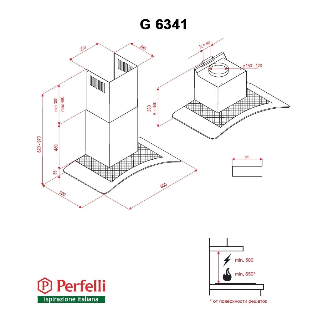 Вытяжка декоративная с стеклом Perfelli G 6341 BL