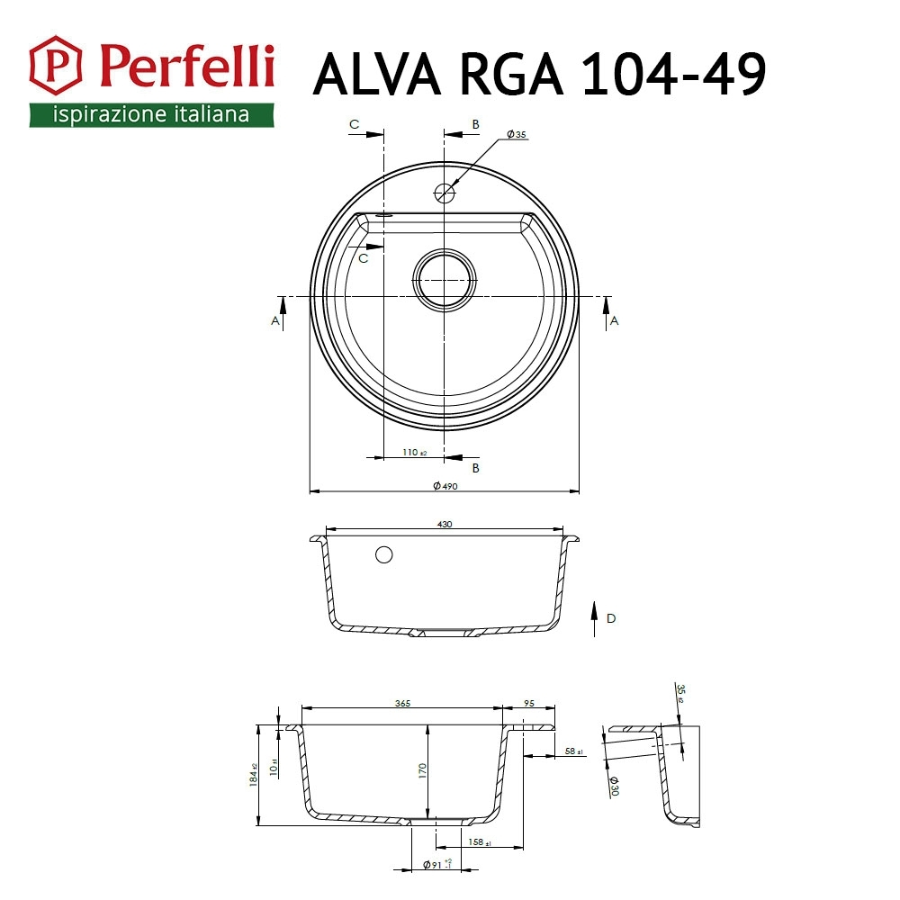 Granite kitchen sink Perfelli ALVA RGA 104-49 WHITE