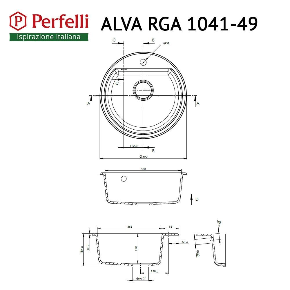 Granite kitchen sink Perfelli ALVA RGA 1041-49 BLACK METALLIC
