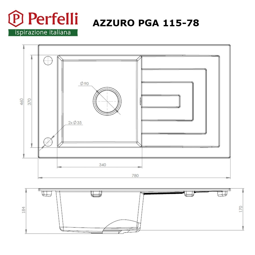 Granite kitchen sink Perfelli AZZURO PGA 115-78 BLACK