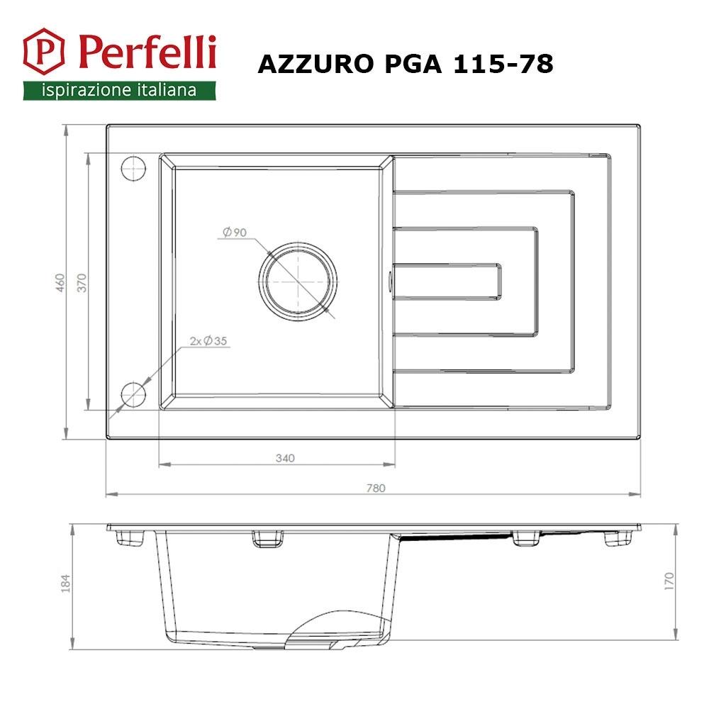 Lavello da cucina in granito Perfelli AZZURO PGA 115-78 BLACK
