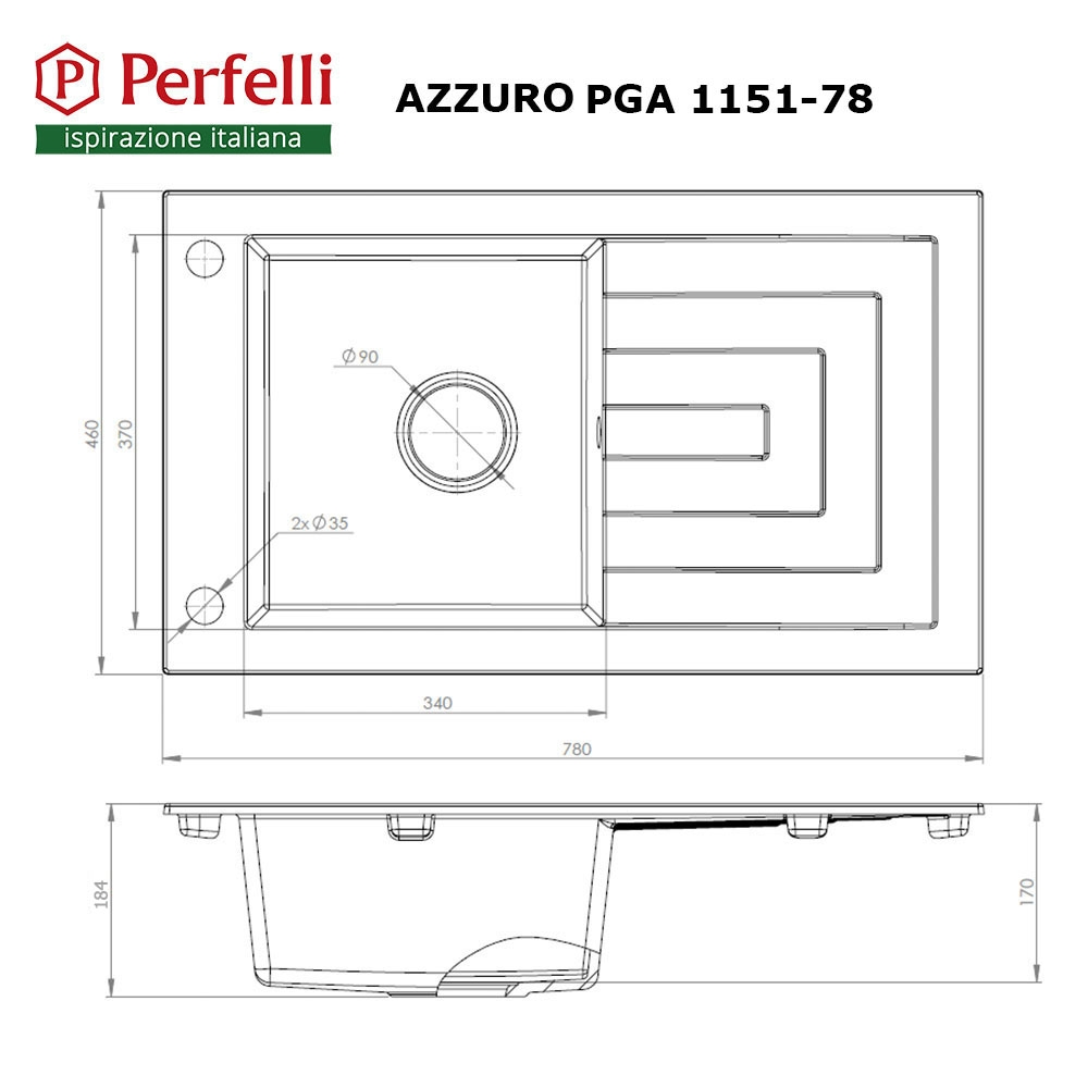Granite kitchen sink Perfelli AZZURO PGA 1151-78 GREY METALLIC
