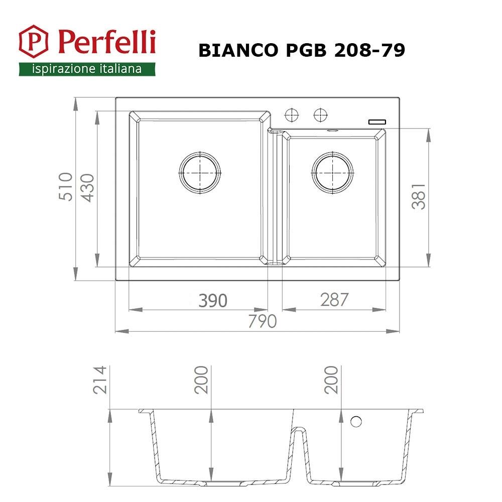 Granite kitchen sink Perfelli BIANCO PGB 208-79 BLACK