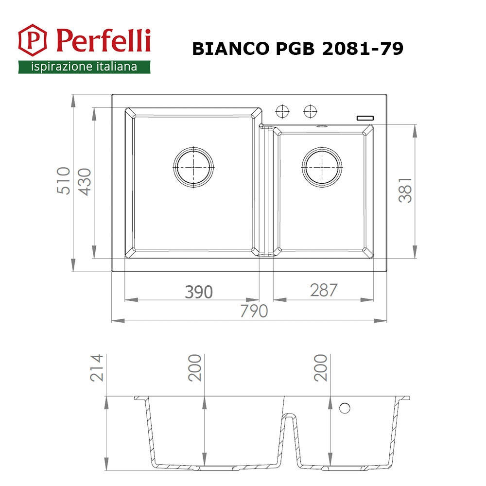Granite kitchen sink Perfelli BIANCO PGB 2081-79 BLACK METALLIC