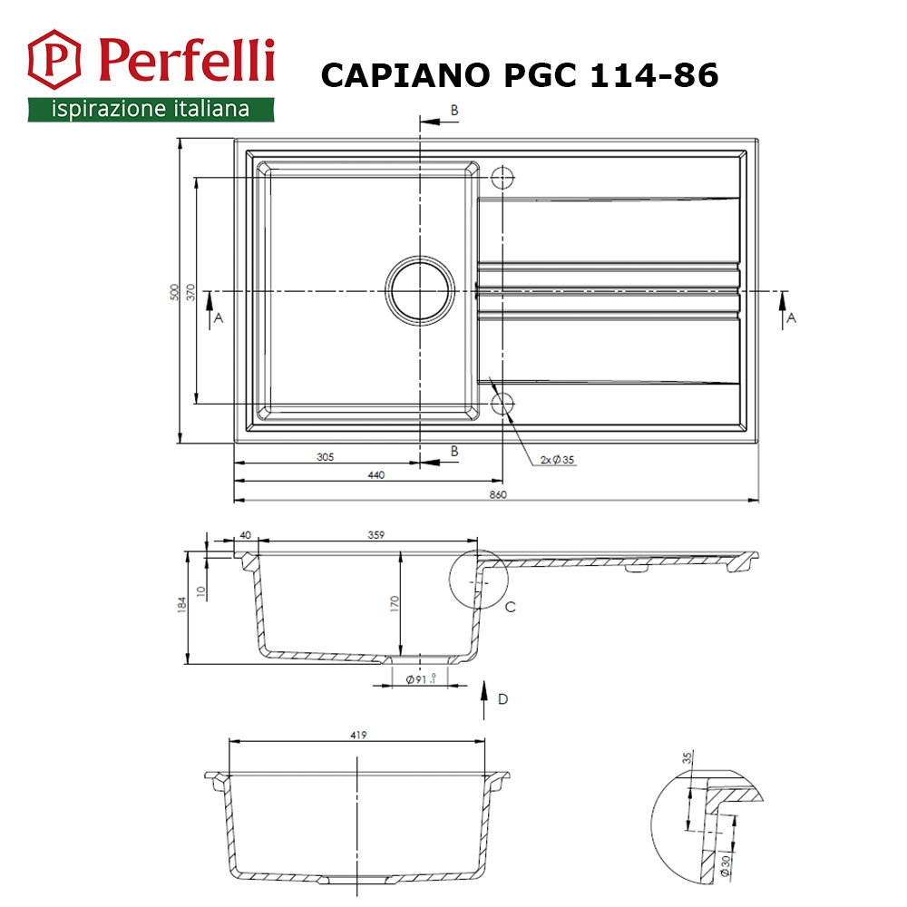 Granite kitchen sink Perfelli CAPIANO PGC 114-86 WHITE