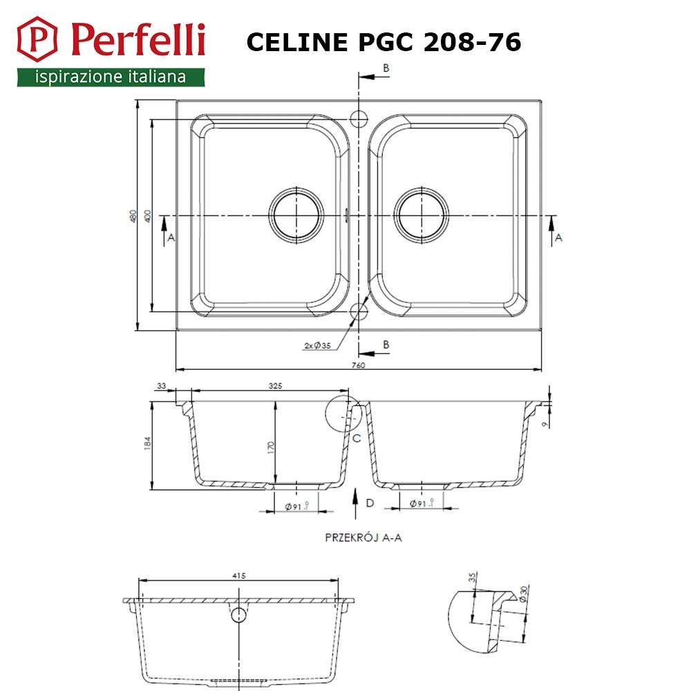 Granite kitchen sink Perfelli CELINE PGC 208-76 WHITE