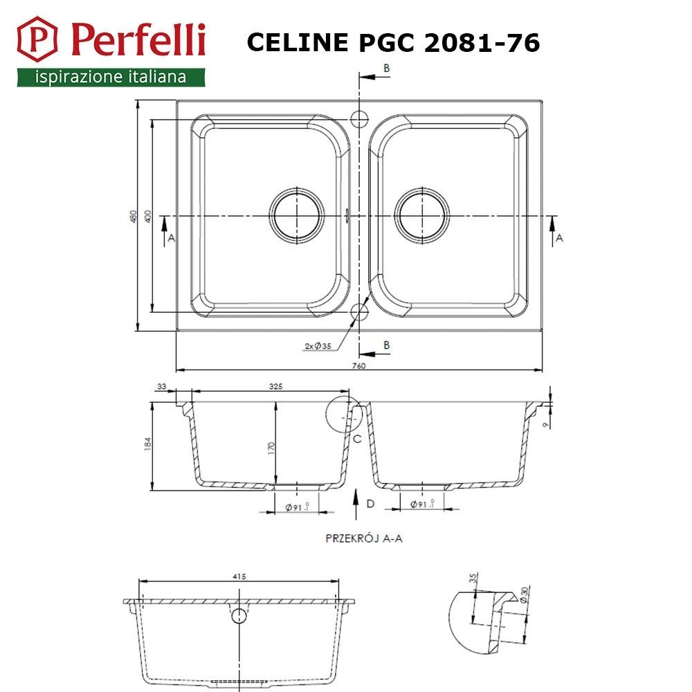 Granite kitchen sink Perfelli CELINE PGC 2081-76 GREY METALLIC