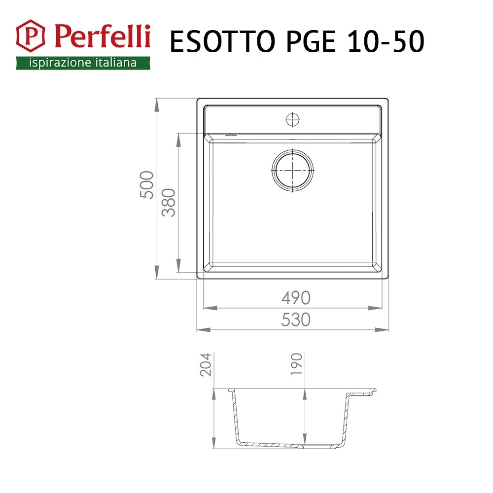 Granite kitchen sink Perfelli ESOTTO PGE 10-50 BLACK
