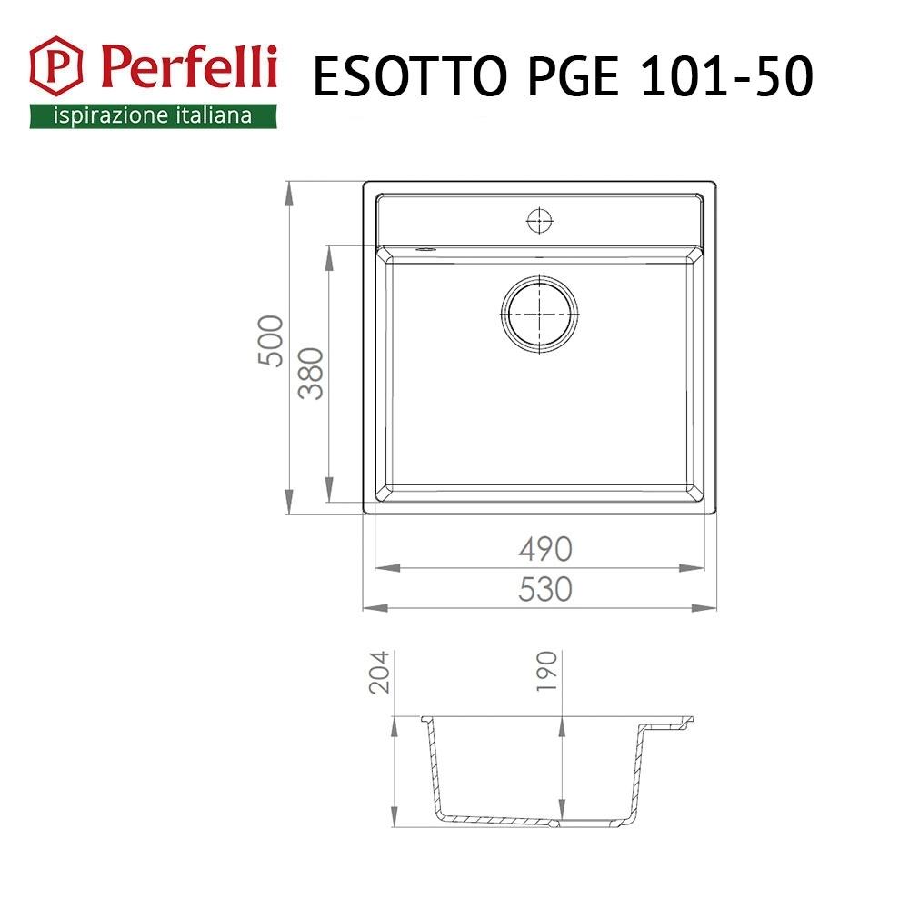 Мойка кухонная гранитная  Perfelli ESOTTO PGE 101-50 BLACK METALLIC