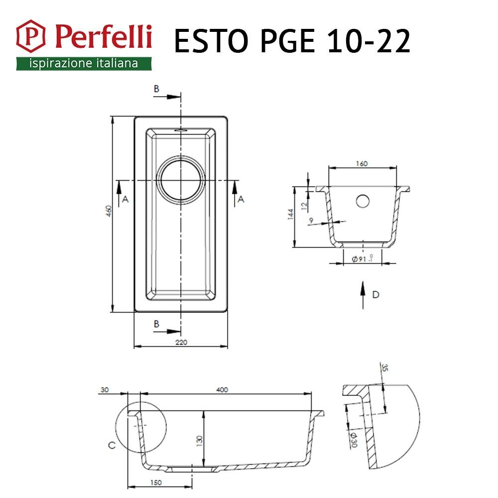 Granite kitchen sink Perfelli ESTO PGE 10-22 BLACK