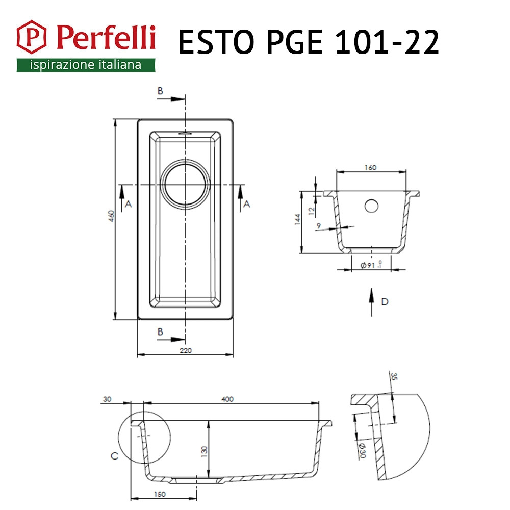 Granite kitchen sink Perfelli ESTO PGE 101-22 BLACK METALLIC