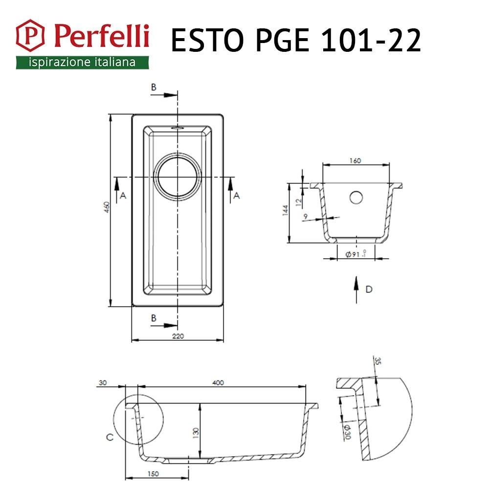 Lavello da cucina in granito Perfelli ESTO PGE 101-22 GREY METALLIC
