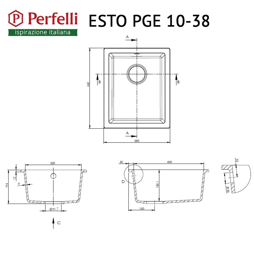 Мойка кухонная гранитная  Perfelli ESTO PGE 10-38 BLACK