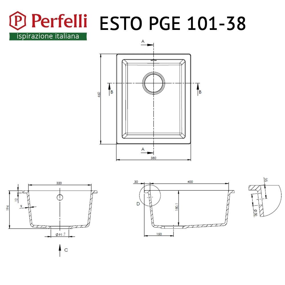 Lavello da cucina in granito Perfelli ESTO PGE 101-38 GREY METALLIC