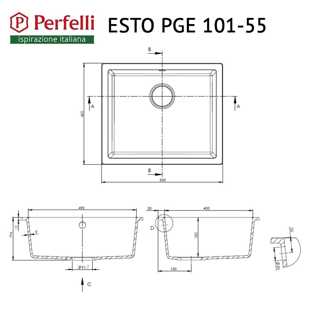 Мойка кухонная гранитная  Perfelli ESTO PGE 101-55 BLACK METALLIC
