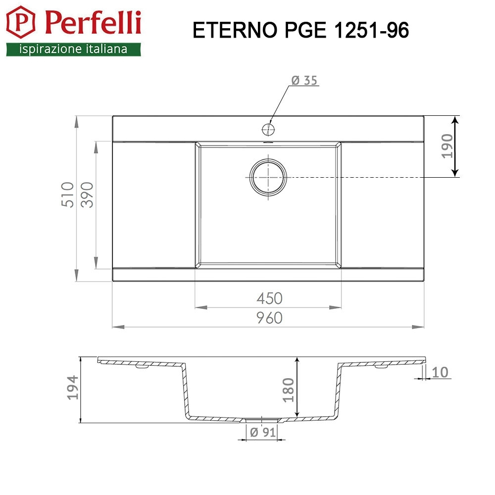 Granite kitchen sink Perfelli ETERNO PGE 1251-96 GREY METALLIC