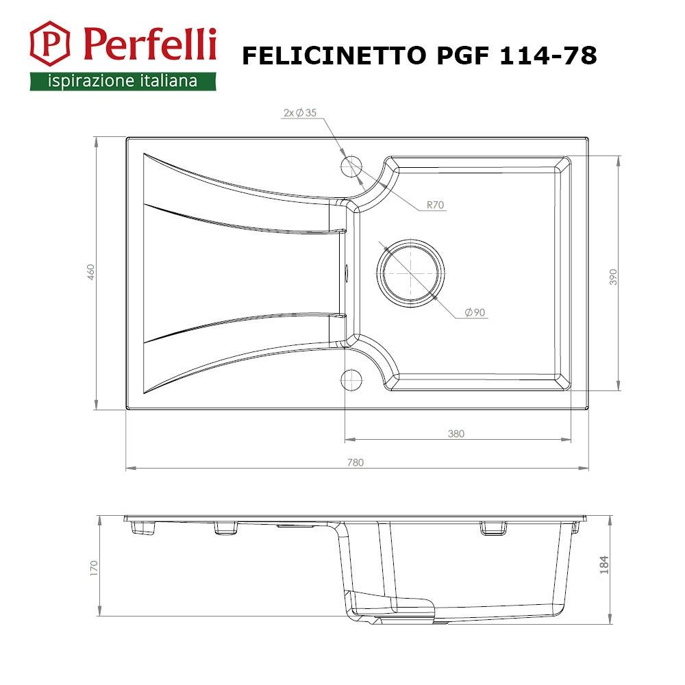 Granite kitchen sink Perfelli FELICINETTO PGF 114-78 LIGHT BEIGE