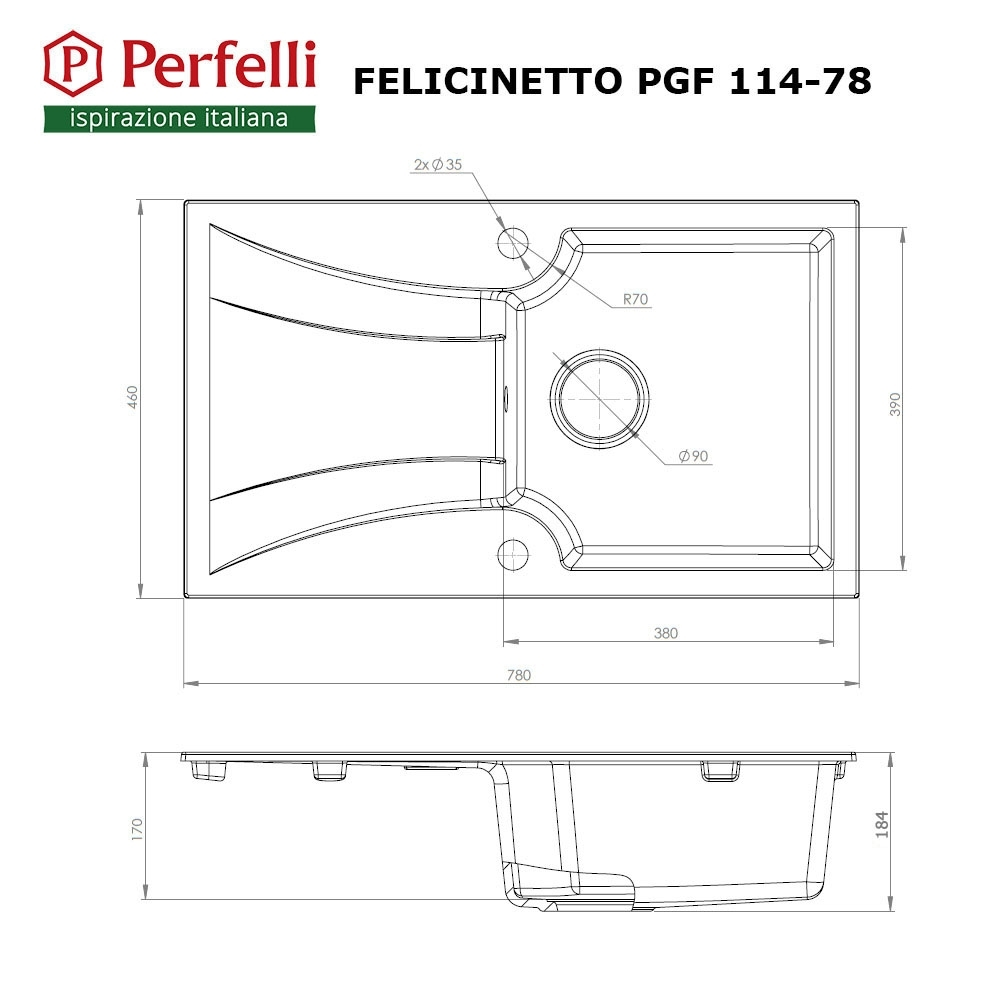Granite kitchen sink Perfelli FELICINETTO PGF 114-78 BLACK