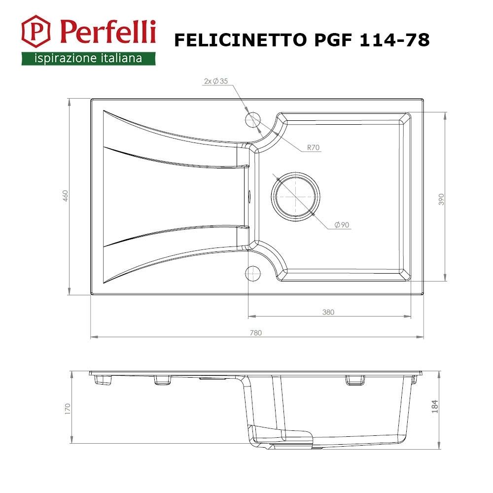 Мийка кухонна гранітна  Perfelli FELICINETTO PGF 114-78 BLACK