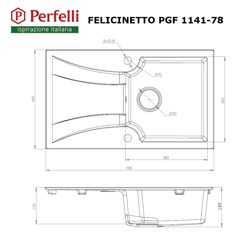 Granite kitchen sink Perfelli FELICINETTO PGF 1141-78 BLACK METALLIC