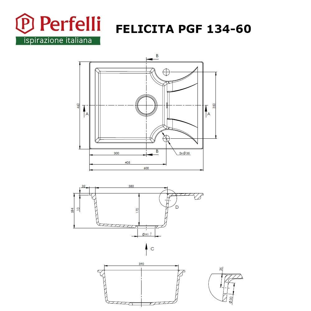 Lavello da cucina in granito Perfelli FELICITA PGF 134-60 WHITE