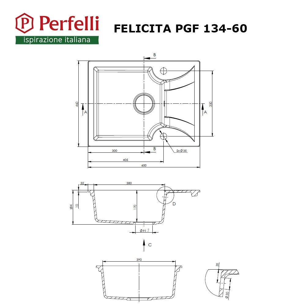 Lavello da cucina in granito Perfelli FELICITA PGF 134-60 BLACK
