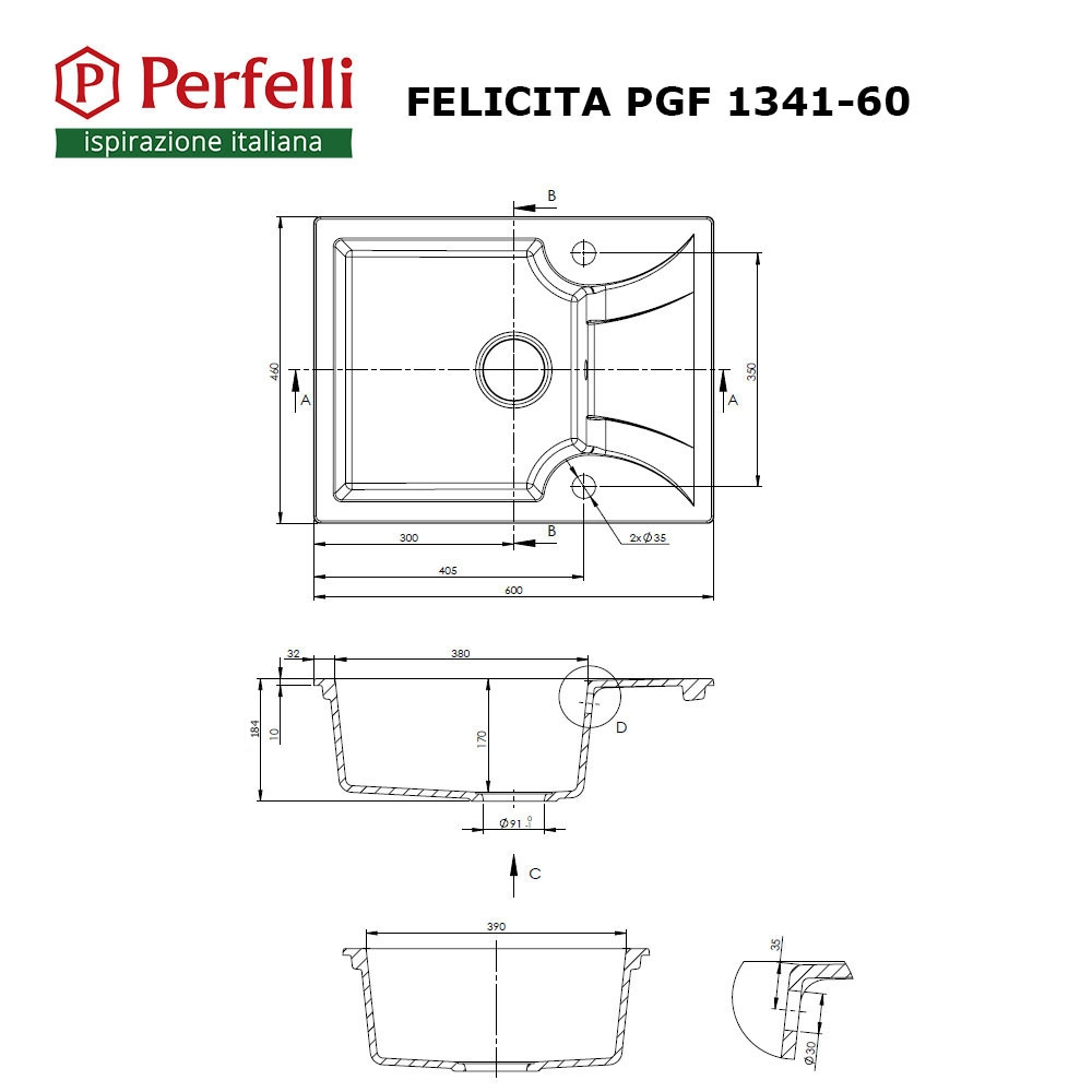 Granite kitchen sink Perfelli FELICITA PGF 1341-60 BLACK METALLIC