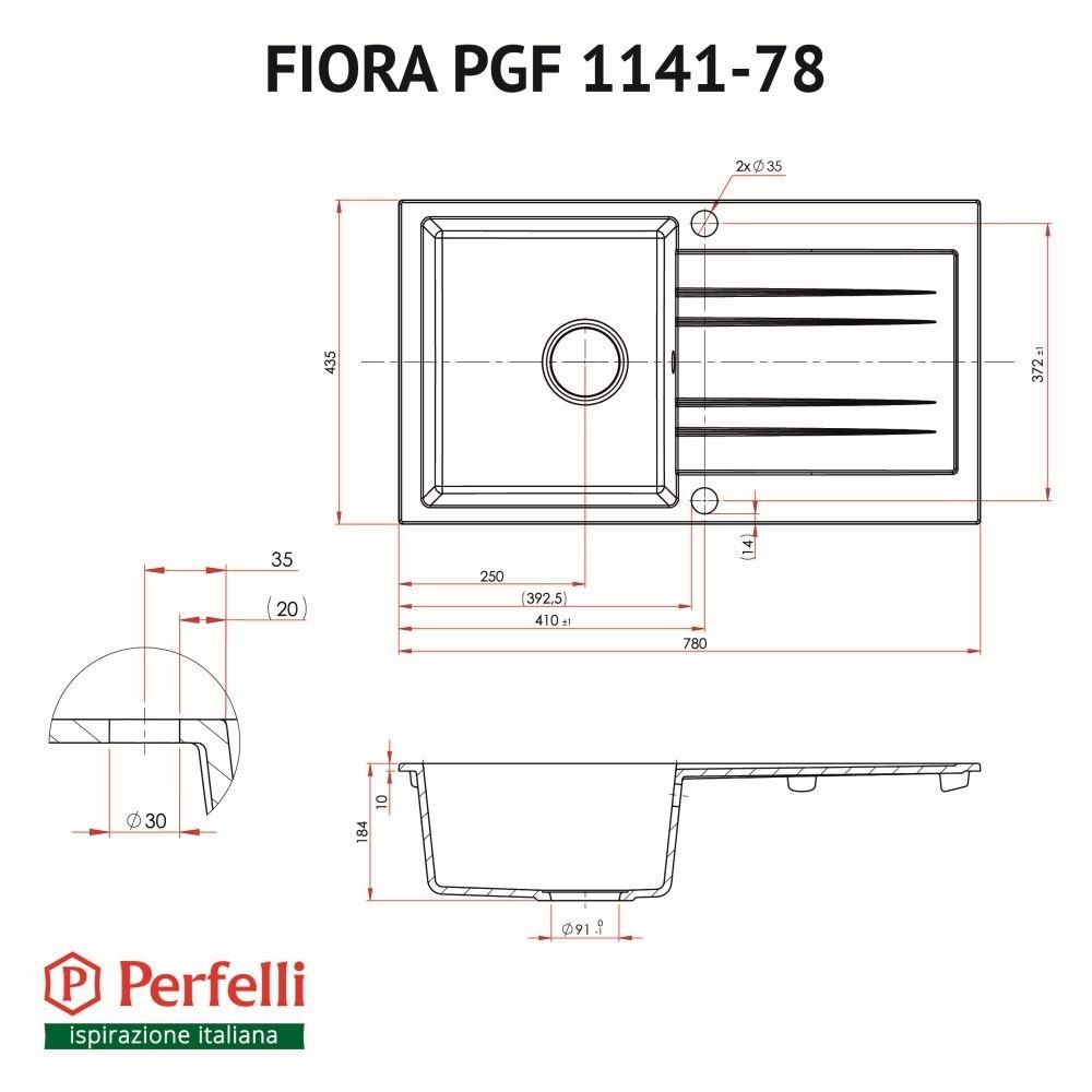 Lavello da cucina in granito Perfelli FIORA PGF 1141-78 GREY METALLIC